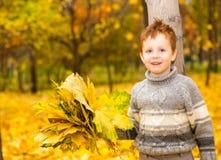 有叶子的愉快的可爱的儿童男孩在秋天公园 秋天 童年、家庭和孩子的概念 库存图片