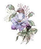 有叶子的罗斯在花束 背景查出的白色 免版税库存图片