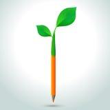 有叶子的铅笔 免版税库存照片