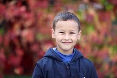 有叶子的年轻男孩在公园 库存图片
