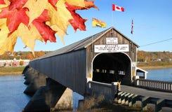 有叶子的Hartland木被遮盖的桥 免版税库存图片