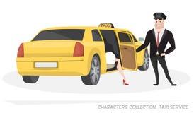 有司机和乘客的VIP出租汽车动画片的 免版税图库摄影