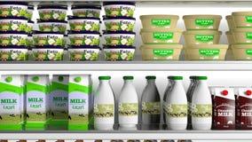 有各种各样的产品的冰箱 3d例证 库存图片