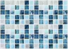 有各种各样的作用大理石的蓝色方形的瓦片 库存图片