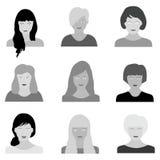 有各种各样的发型的妇女头 库存例证