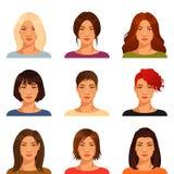 有各种各样的发型的少妇 库存照片