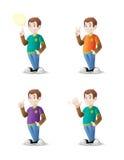 有各种各样的姿态的动画片少年 免版税库存照片