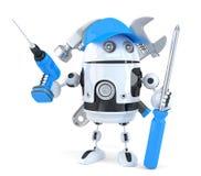 有各种各样的工具的机器人 概念查出的技术白色 包含裁减路线 免版税库存照片