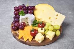 有各种各样的类的可口乳酪盘子乳酪 免版税图库摄影