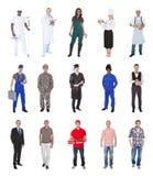 有各种各样的职业的不同种族的人 库存照片