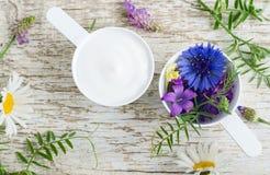 有各种各样的野花的两个塑料瓢和与草本萃取物的面部奶油色面具 自然化妆用品成份  免版税库存图片