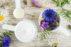 有各种各样的野花的两个塑料瓢和与草本萃取物的面部奶油色面具 自然化妆用品成份  免版税库存照片