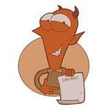 有合同纸的动画片微笑的恶魔 免版税库存图片