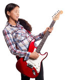 有吉他的亚裔女孩 库存图片