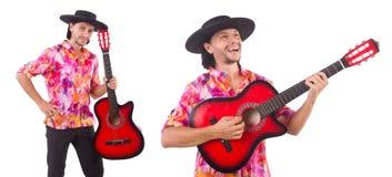 有吉他的人佩带的阔边帽 免版税库存图片