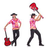 有吉他的人佩带的阔边帽 免版税库存照片