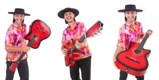有吉他的人佩带的阔边帽 库存图片