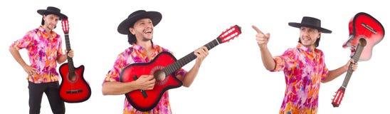 有吉他的人佩带的阔边帽 库存照片