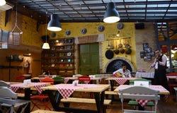 有吉他和紫罗兰生活表现的一家传统匈牙利餐馆 库存照片