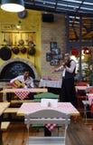 有吉他和紫罗兰生活表现的一家传统匈牙利餐馆 免版税库存图片