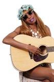 有吉他的妇女 库存图片