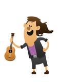 有吉他的漫画人物快乐的吉他弹奏者 免版税库存照片