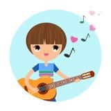 有吉他的男孩 图库摄影