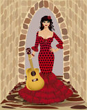 有吉他的美丽的佛拉明柯舞曲女孩 库存图片