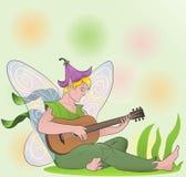 有吉他的花神仙的男孩 库存图片