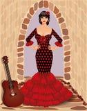 有吉他的西班牙佛拉明柯舞曲女孩 免版税库存照片