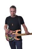 有吉他的音乐家 免版税库存照片