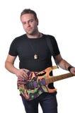 有吉他的音乐家 库存图片