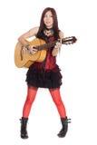 有吉他的年轻亚裔女孩 免版税库存图片