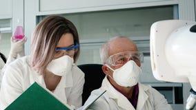 有同事的医生由显微镜做专门技术 股票录像