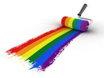 有同性恋自豪日旗子的漆滚筒 免版税图库摄影