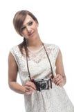 有同情心的女性摄影师 免版税库存图片