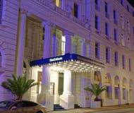 有名望的旅馆大西洋入口在汉堡有页的德国欧洲夜在G20山顶以后的末端的一天我 库存图片