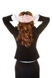 有后面看法的妇女拿着头的脖子痛 免版税图库摄影