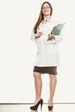 有听诊器、剪贴板和笔的妇女医生 免版税库存图片