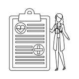 有听诊器和医疗命令的女性医生 皇族释放例证