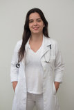 有听诊器的一位女性医生 免版税库存图片