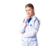 有听诊器的妇女医生 免版税库存图片