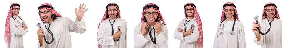 有听诊器的阿拉伯医生在白色 库存图片
