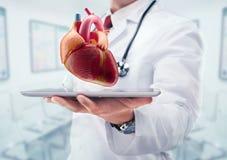 有听诊器的医生在医院 在片剂的心脏 图库摄影