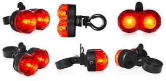 有启发性后方自行车灯,在红颜色的塑料 图库摄影