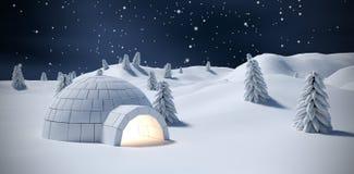 有启发性园屋顶的小屋和树的综合图象在雪原 库存图片