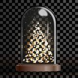 有启发性圣诞树在玻璃圆顶、圣诞快乐和一新年好下 库存例证