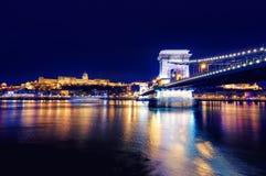有启发性布达佩斯夜视图有多瑙河、宫殿和桥梁的 免版税库存图片