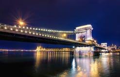 有启发性布达佩斯夜视图有多瑙河、议会、宫殿和桥梁的 图库摄影