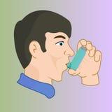 有吸入器的一个人,疗程通过吸入器 免版税库存图片